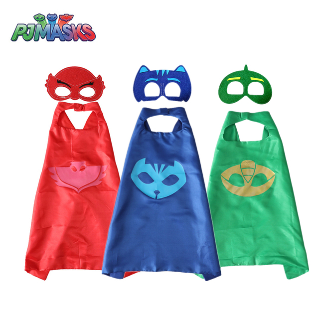 PJ Masks Children Mask Cloak Cosplay Half Face Mask Funny Halloween Party Decor Mask Superhero Anime Figure Masks Toy Kids Gift