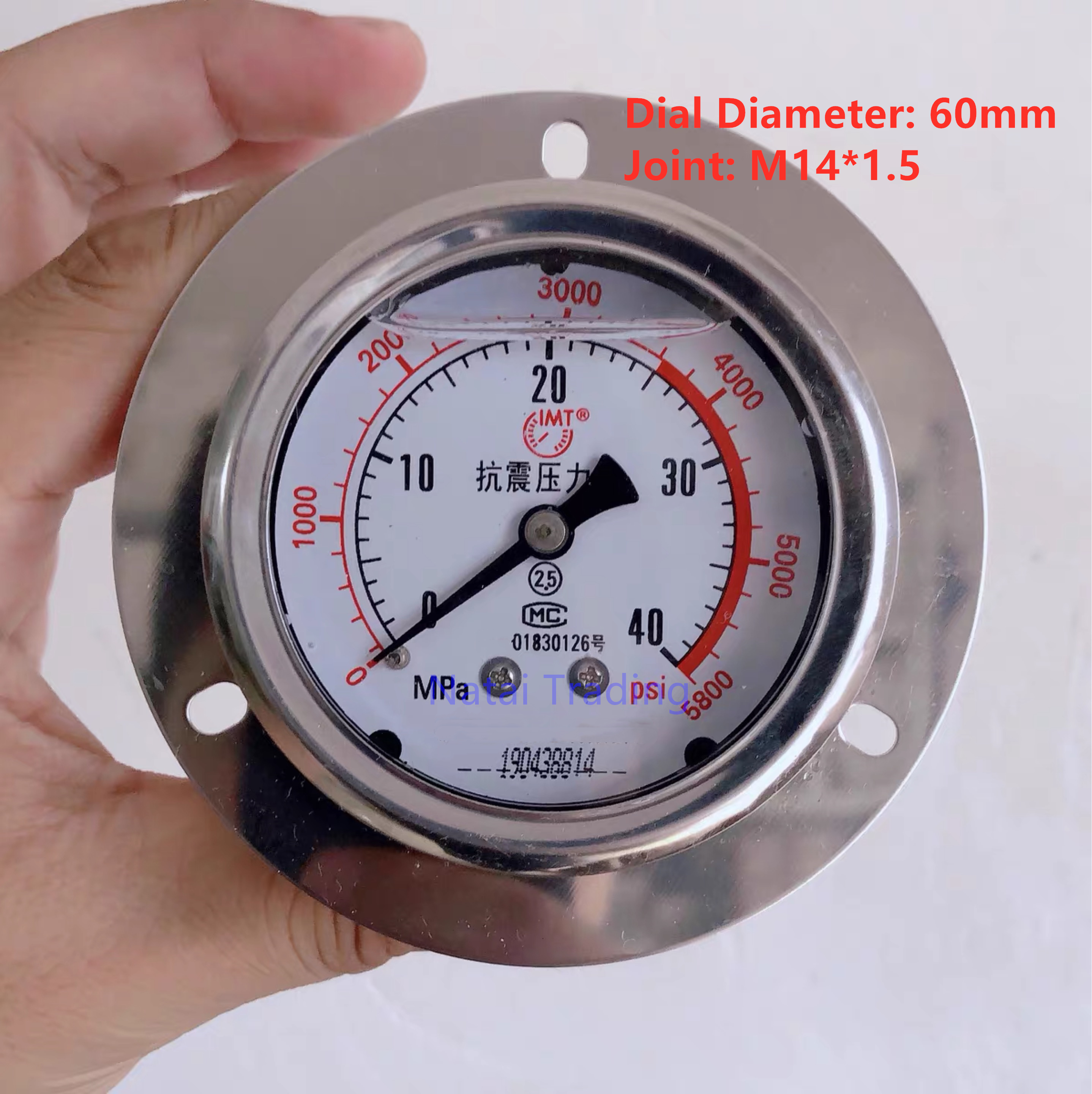 Silicone Oil Filled Axial Band Edge Shock Proof Pressure Gauge 40Mpa, Stainless Steel Manometer 25Mpa Pressure Gauge Meter