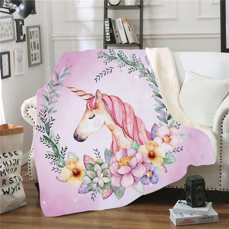 Cartoon Unicorn Printing Throw Blanket Soft Cozy Velvet Plush Cover Blanket For Couch Bed Travel Cold-proof Blanket