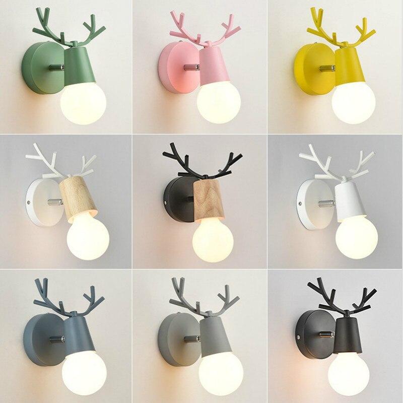북유럽 led e27 벽 램프 다채로운 만화 사슴 antlers 침실 독서 sconce 벽 마운트 어린이 룸 조명 벽 조명