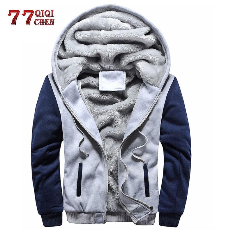 Mens Jacket Hoodies Zipper-Cardigan Fleece Brand-Clothing Plus-Size 4XL Warm 5XL Thick