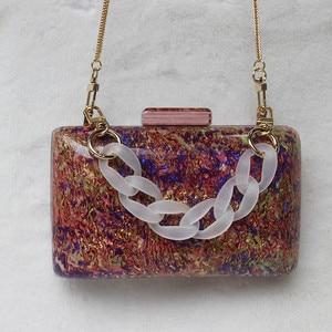 Image 3 - New Trendy Acrylic Bag Brand Fashion Women Handbag Red Geometric Luxury Wedding Party Evening Bag Woman Casual Box Clutch Purse