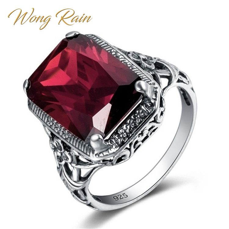Wong Rain Vintage 100% 925 Sterling Silver Ruby Gemstone Wedding Engagement Cocktail Party Ring Women Fine Jewelry Wholesale