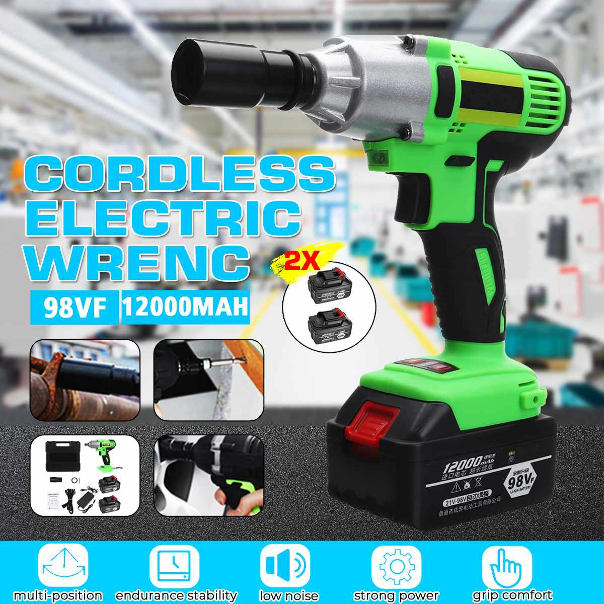 98VF Brushless Socket Wrench Electric Wrench Cordless Impact Wrench 12000mAh Rechargeable Li-ion 2 Battery Power Tools