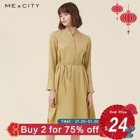 Me&city Brand Dress Ladies Spring Summer New Shirt Dress Lace Up Dress High Street Style for Office Lady