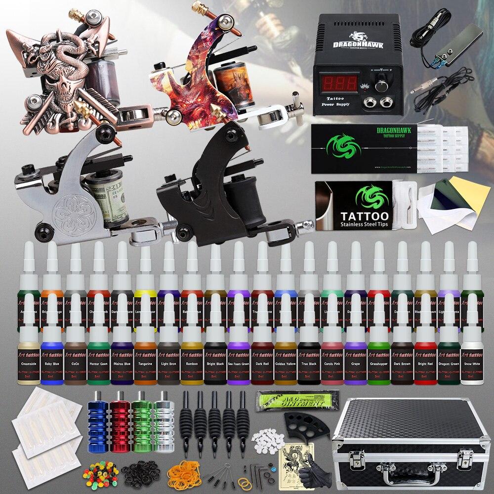 Beginner Compleet Tattoo Kit 4 Machinegeweren 40 Kleur Inks Voeding Naalden Grip Tip Set In Doos D120GD 14