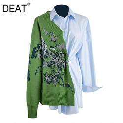 DEAT 2021 New Autumn Fashion Women Shirts Knitted Patchwork Full Sleeve Lapel Collar Silky Design High Street Wild TU037