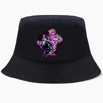 Japonia Anime Jojo JoJos dziwaczna przygoda Bob kapelusze wiadro letnie męskie Panama kobiety kapelusz rybaka czapki bawełniane Hip-Hop czapka plażowa tanie i dobre opinie teekossc COTTON Poliester Dla dorosłych CN (pochodzenie) Unisex Mieszkanie Drukuj Na co dzień