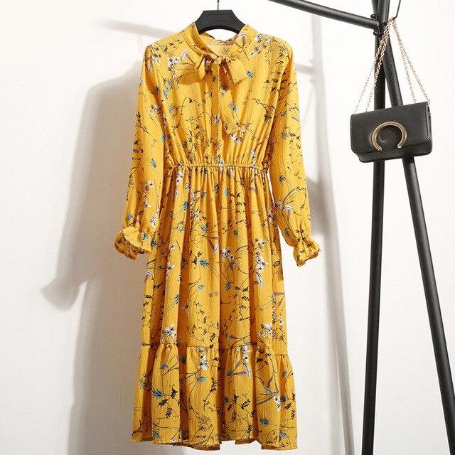 Женское шифоновое платье в горошек, платье с воротником-стойкой и длинным рукавом, с цветочным принтом, лето 2020 3