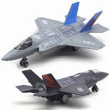 Avião modelo de brinquedos liga abs simulação americano lutador F-16 F-35 som e luz aeronaves militares modelo brinquedos para meninos