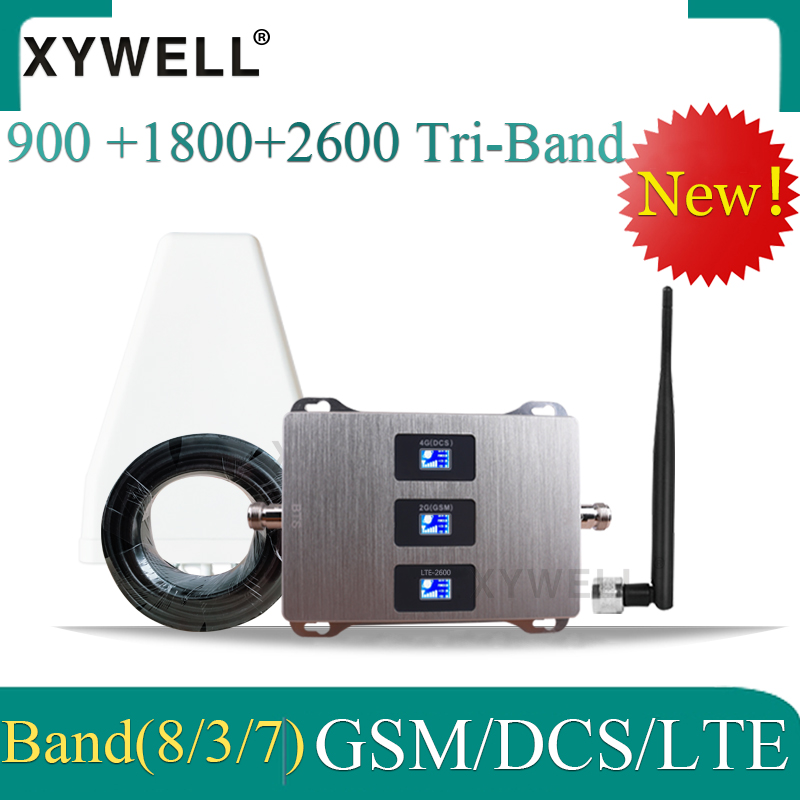 Cellular Amplifier 4g  900 1800 2600 GSM DCS LTE 2G 3G 4G Tri-Band Cellular Signal Repeater GSM  Mobile Signal Booster