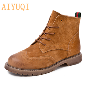 Image 1 - women shoes 2020 spring genuine leather Female short boots  suede women booties  British lace retro trend women naked boots