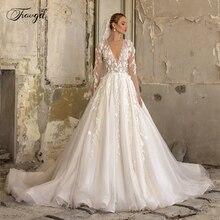 Traugel vestido de noiva com decote em v, elegante, com renda, aplique, manga longa, capela, trem plus size