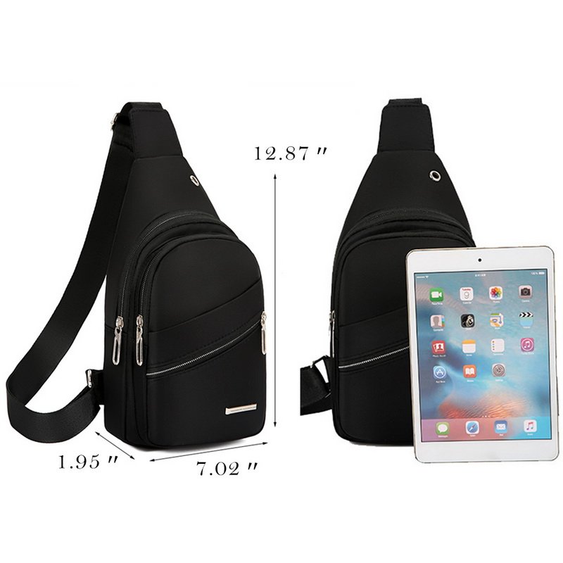 Canvas Men/'s Sling Chest Pack USB Charging Sports Crossbody Handbag Shoulder Bag