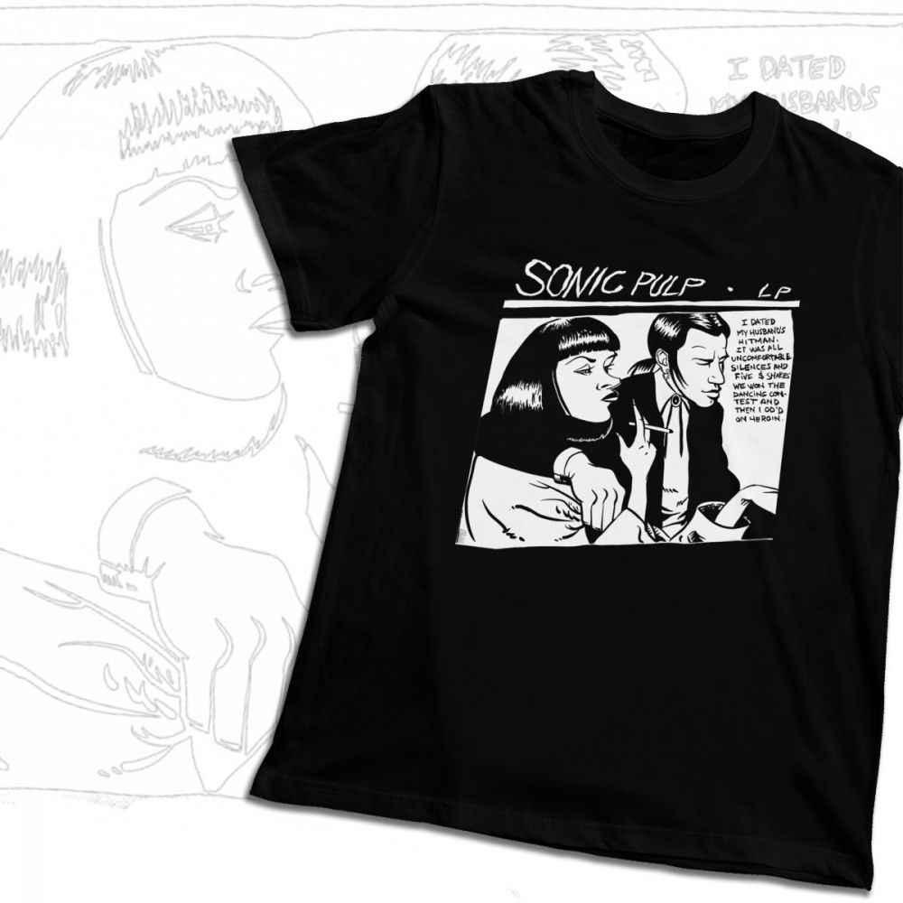 Unisex Camiseta Sônica Goo Ficção Polpa 100% Algodão Gráfico T-shirt de Impressão Em Torno Do Pescoço Clássico Harajuku Streetwear
