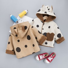 Autumn Winter Baby Girl Boy Warm Jacket 3D Ears Hooded Warm Coat Outerwear FOR Children Kids Polka Dot Clothes 1-3 Years