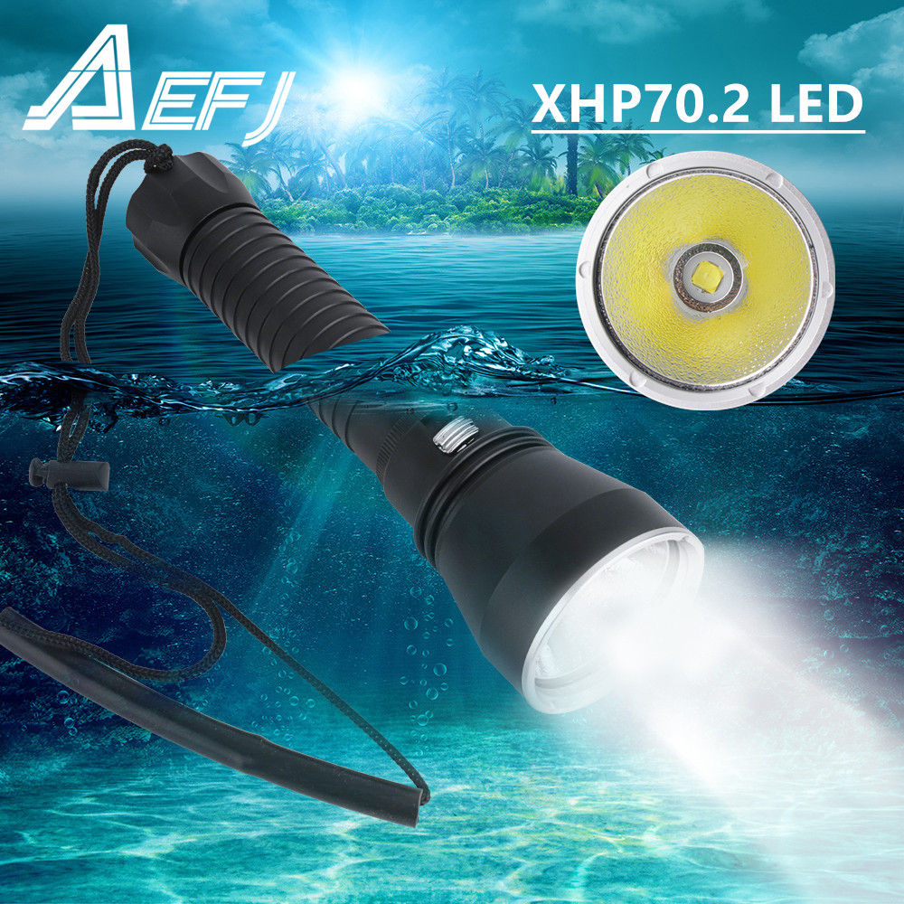XHP70 LED Yellow White Light 4000 Lumens Diving Flashlight 26650 Torch Underwater 100M xhp70 2 spearfishing led diving lamp