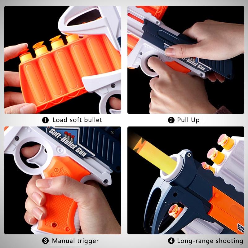Soft Bullet Gun Child Toy Gun Safety Launchable Sucker Pistol Eva Sucker Gun Manual Boy Darts Toy Birthday Gift 2