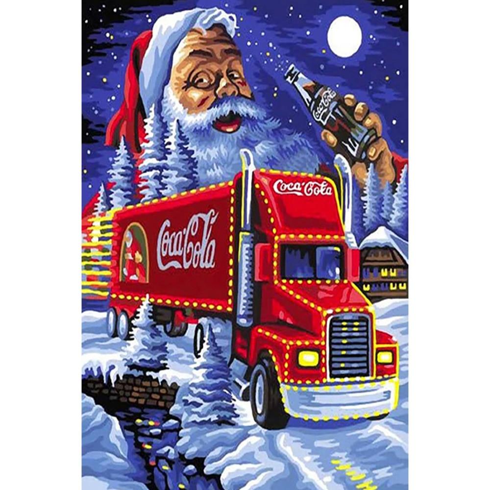 Санта-Клаус красный грузовик полная дрель квадратная круглая DIY 3D набор для алмазной живописи Детский Рождественский подарочная Алмазная м...