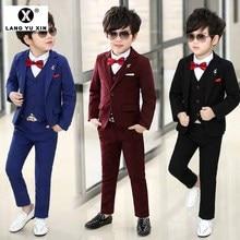 Boy Gentleman Formal Suit Three-Piece Jacket + Pants + Vest Children's Wedding