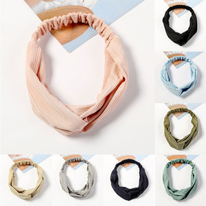 Women Solid Color Ice Silk Headband Hairband Striped Middle Knotted Sport Yoga Turban Head Wrap Bandanas Female Hair Accessories