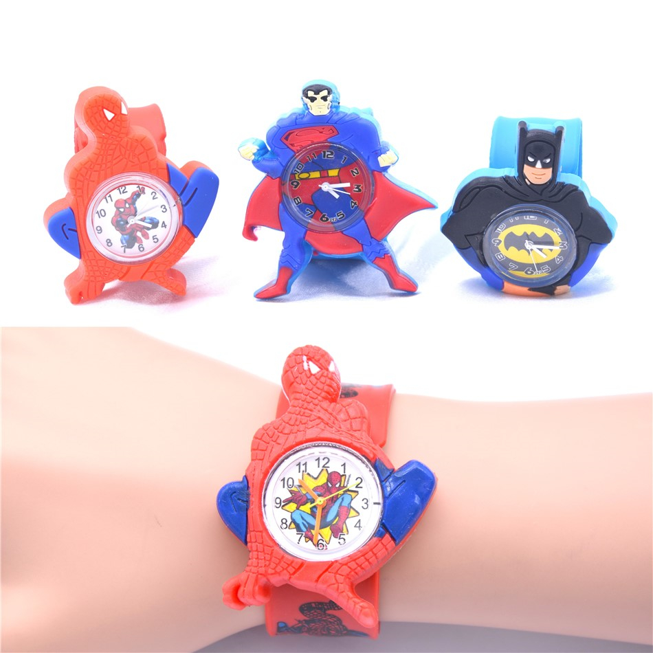 Cartoon Hero Style Watches For Boys Hot Children Clock Superman Captain America Men Kids Gift