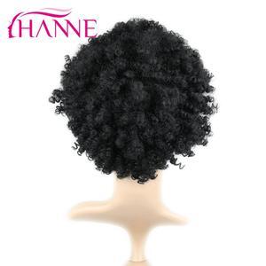 Image 4 - Hanne krótka brązowa naturalna peruka peruka z kręconych włosów typu Kinky peruka syntetyczna dla czarnej kobiety Cosplay afrykańskie fryzury peruki wysokotemperaturowe