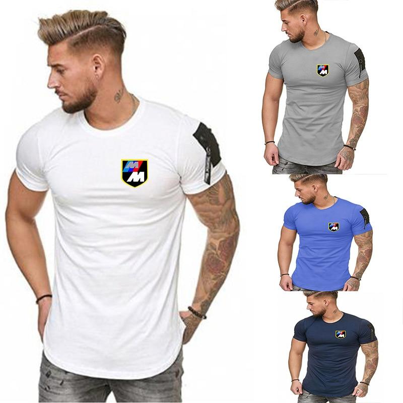 Gym Cotton T-shirt Men's Fitness Exercise Tight-fitting Short Sleeve T-shirt Men's Bodybuilding Sports T-shirt Top Zipper Pocket