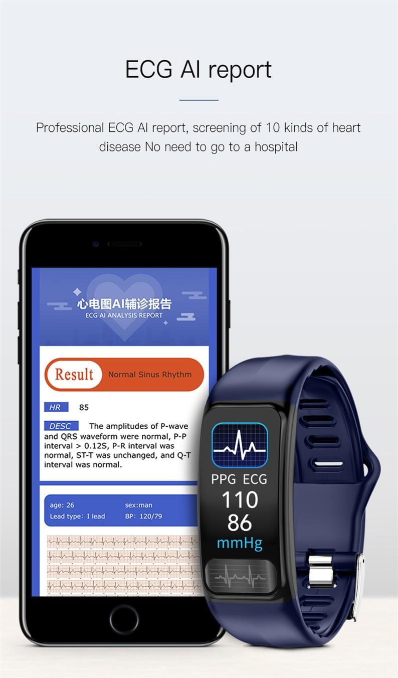 Hb144907ce70b4ced8c4495a5007c7ef2g P12 ECG PPG SPO2 smart bracelet heart rate oxygen monitor blood pressure smart belt IP67 waterproof call reminder sports Band