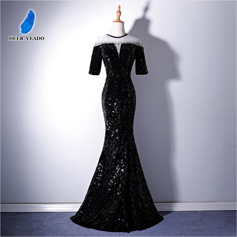 DEERVEADO Half Sleeves Evening Dress Long Sequins Side Split Formal Dress Woman Occasion Party Dresses Evening Gown XYG819C