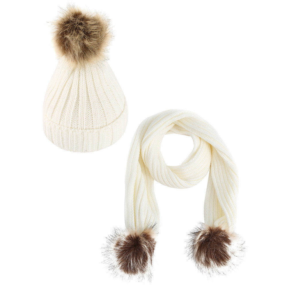 Fashion Children Winter Knitted Hats Warm Wool Pom Pom Cashmere Beanies High Quality Casual Outdoor Caps+Scarf Shawl Suit