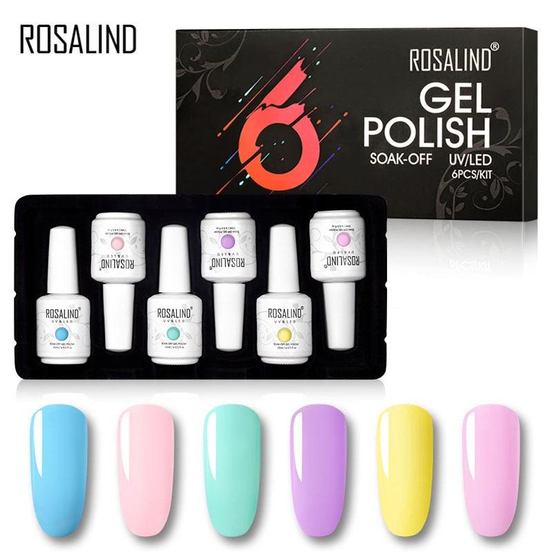 ROSALIND 6PCS Gel Nail Polish Set 15ml Semi Permanent Hybrid Vernis Nail Gel Kit Soak Off Nail Art Design Nail For Manicure Set