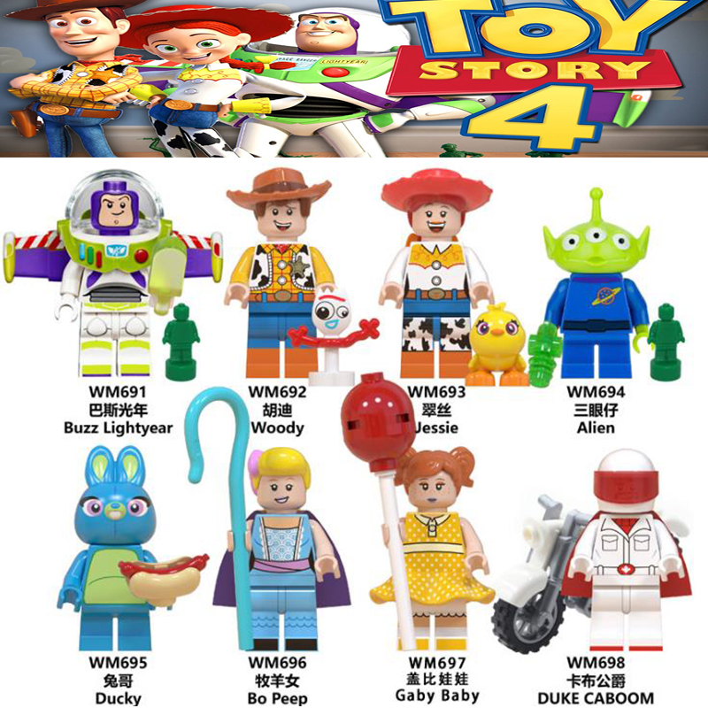 Brinquedos história 4 blocos de construção dos desenhos animados boneca figuras forky buzz lightyear woody ducky jessie bo peep modelo para crianças presente brinquedo