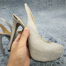 Sexy Silver Glitter Pumps High Heel Dress Party Women Pumps Summer New Round Toe Platform Sling Back Stiletto 14cm Heels Shoes enmayla sexy thin high heels 14cm pumps round toe women shoes glitter platform pumps ankle strappy party shoes black red blue