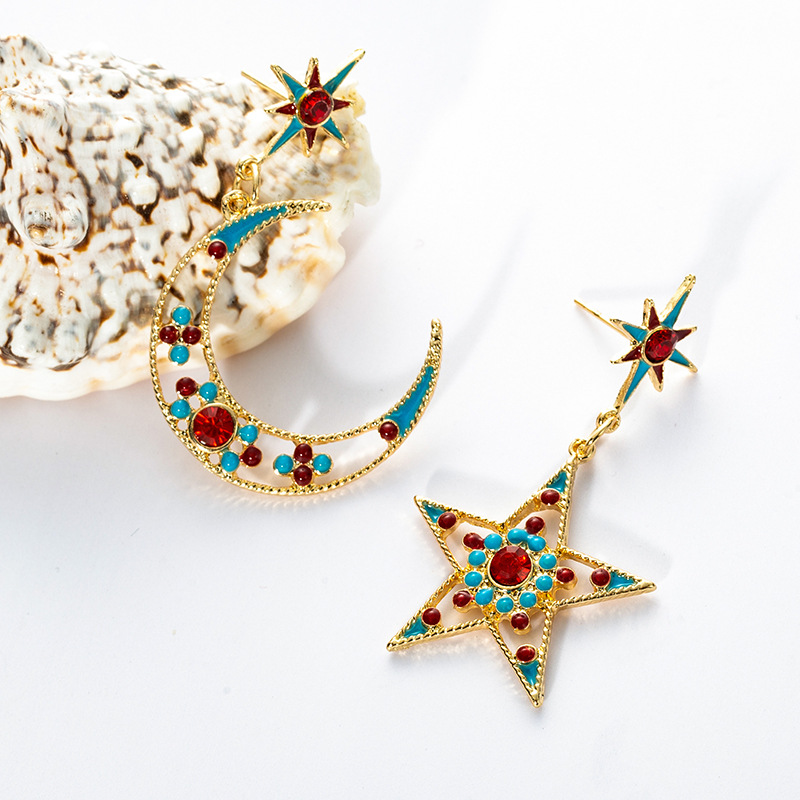 2019 Fashion Ethnic Style Pendant Earrings Exaggerated Colorful Moon Sstars Asymmetric Dangle Earrings For Women Jewelry Gift