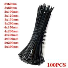 Self-locking plastic nylon tie 100 PCS black 5X300cable tie fastening ring3X200 cable tie zip wraps strap  nylon cable tie set