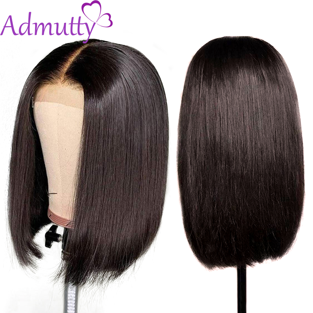 Admutty Hair 13*4 Short Lace Front Human Hair Wigs Brazilian Straight Lace Front Wig Bob Lace Front Wigs For Back Women Non Remy