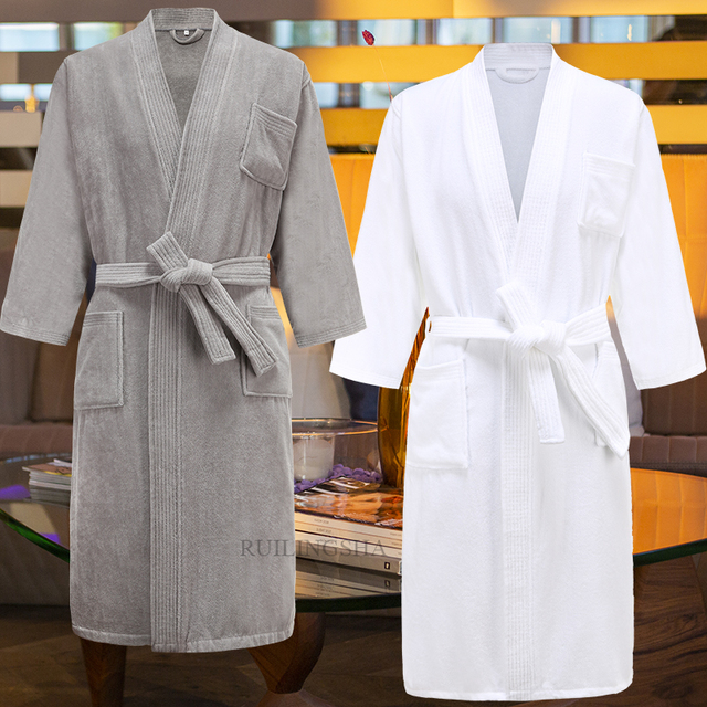 Star Hotel 100% Cotton Sweat Towel Bath Robes Men Plus Size Winter Kimono Warm Bathrobe Mens Terry Sleepwear Women Dressing Gown