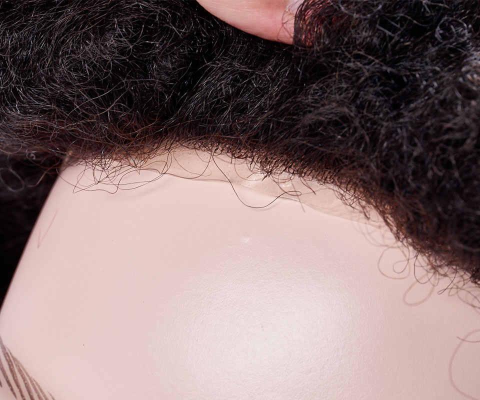 Peluca de peluquín para hombre, piel fina, 0,12mm, Afro, rizado, sistema de reemplazo, extensiones hechas a mano, pelo humano indio Remy