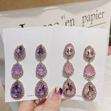 MENGJIQIAO Korean Elegant Luxury Waterdrop Crystal Dangle Earrings For Women Fashion Colorful Party Boucle D'oreilles Jewelry
