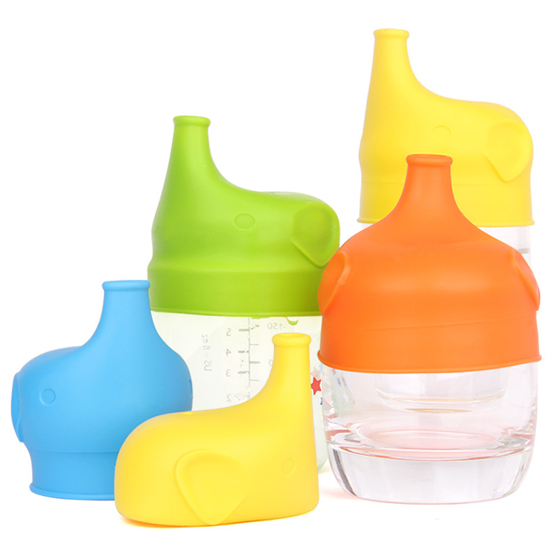 Kids Silicone Sippy Lids Reuseable Stretchable Leakproof For Bottle Feeding