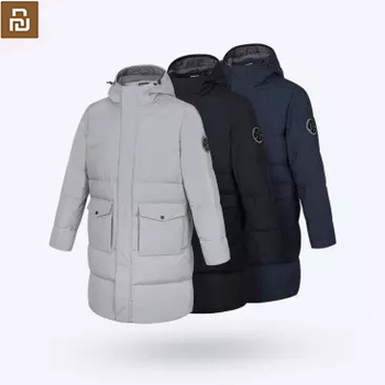 New Youpin Men's quilted thick long down jacket 80% gray duck down 3 grade water repellent medium and long version