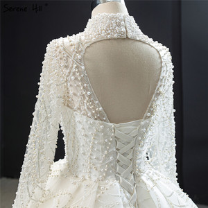 Image 5 - Luxury Ivory High Neck Sexy Plus Size Wedding Dresses 2020 Long Sleeves Beading Pearls Bridal Gowns BHM67129 Couture Dress