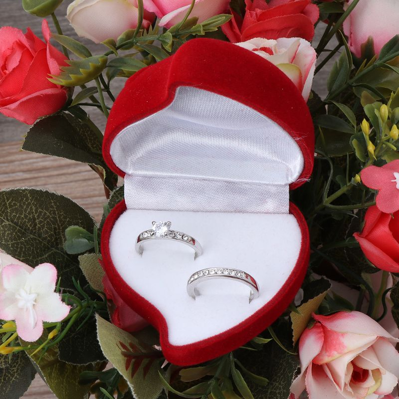 Double Wedding Rings Box Velvet Heart Shape Red Rose Flower Box Jewelry Display C6UD
