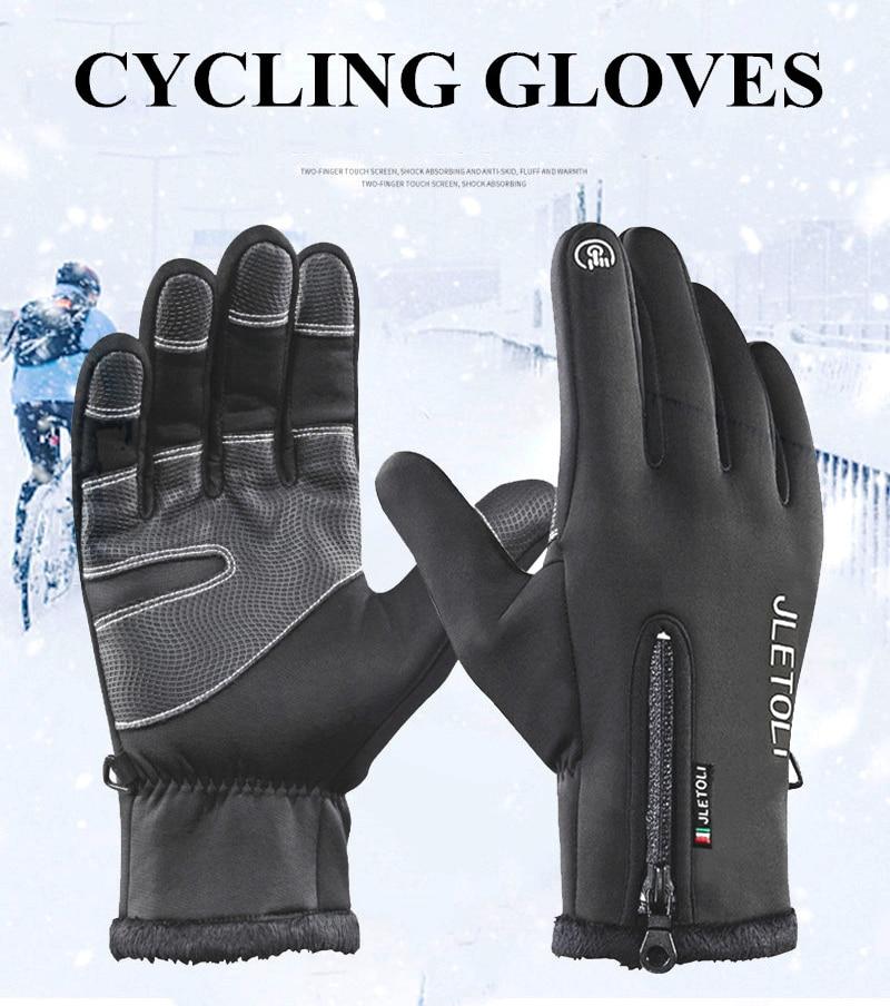 Men Women Winter Cycling Gloves Full Fingers Touch Screen Fleece Windproof M