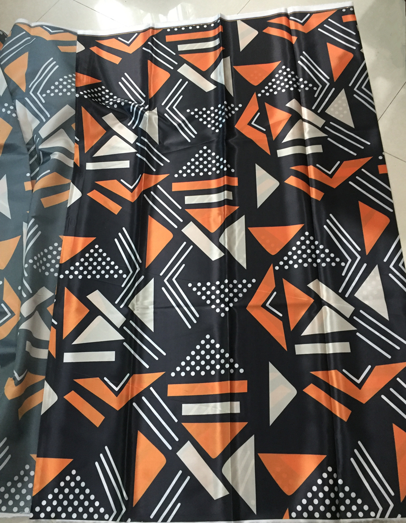 preto & laranja africano cera de seda tecidos para vestido