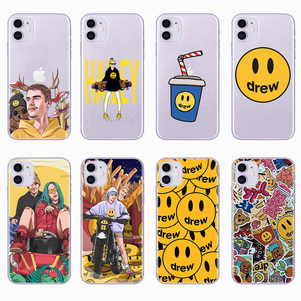 Luxury brand Drew House Justin Bieber Soft Phone Case For iPhone 11 Pro MAX Smiley face For iPhone X SE 6 6S 7 8 Plus XR Xs Max