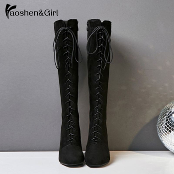 Haoshen&Girl Winter Woman Knee High Heel Boots Lace Up 7cm Heel Boots Keep Warm Black Women Shoes Plus Size13