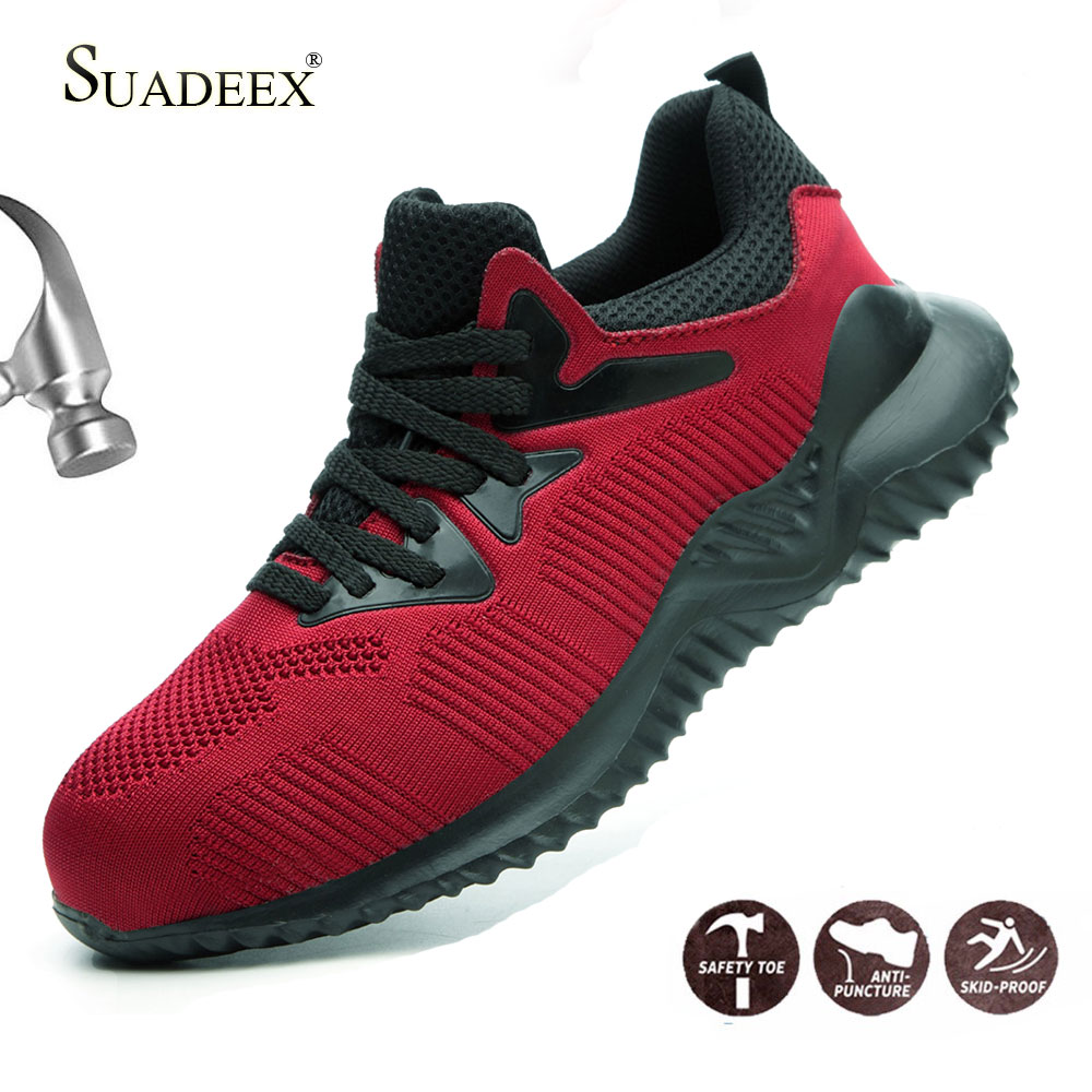 Buy SUADEEX Safety Shoes Men Steel Toe Cap Sneakers Breathable Outdoor Anti-slip Steel Puncture Proof Construction Boots Work Shoes