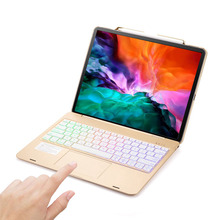 For iPad Pro 12.9 2018 2020 LED Backlight Bluetooth Russian/Spanish/Hebrew Trackpad Keyboard Case Cover Build-in Pencil Holder